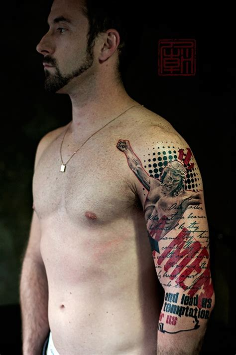 modern tattoos glorious modern style colored shoulder of jesus