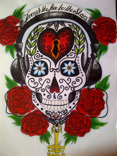 sugar skull with headphones by ecca3me on deviantart