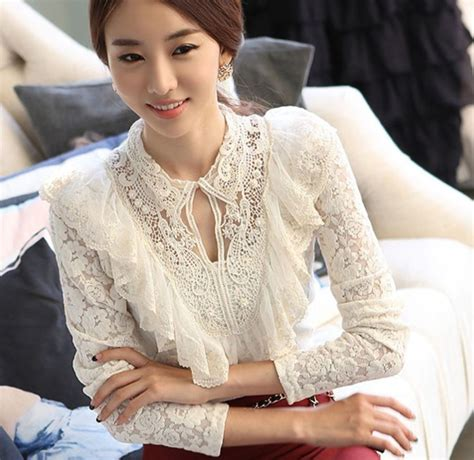 Lace Ruffled Blouse white blouse for chic sleeve summer white tops
