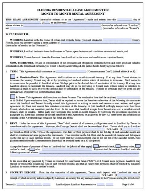 Free Florida Month To Month Rental Agreement Pdf Word Florida Month To Month Lease Agreement Template