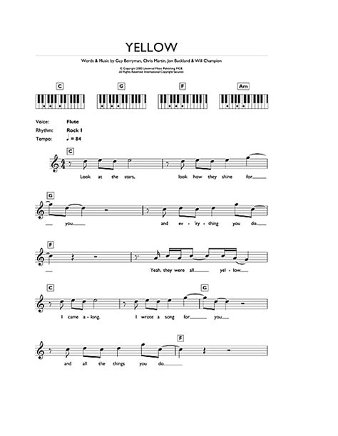 coldplay chords yellow yellow sheet music by coldplay keyboard 43279