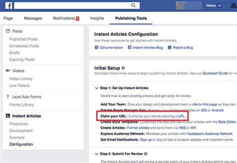 url sections how to setup facebook instant articles for wordpress