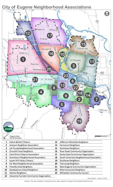 map of neighborhoods neighborhood map eugene or website
