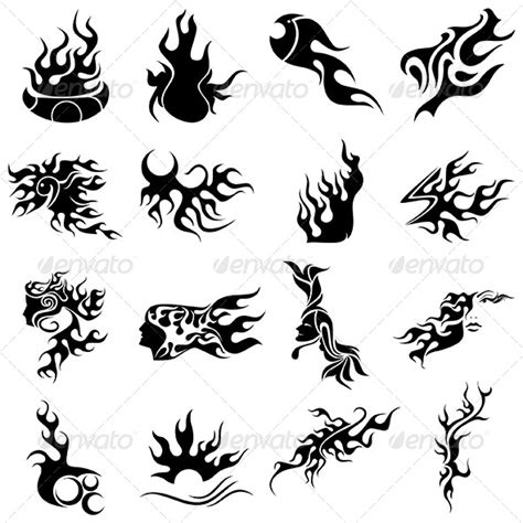 simple fire tattoo designs tribal designs vector pack by vecras