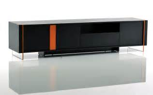 contemporary black oak and orange floating tv stand