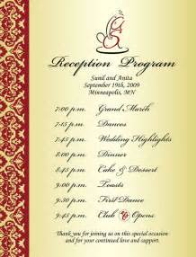 Wedding Reception Programs Examples Wedding Reception Program Sample Weddings Amp Events Puram Family Tolani Etc Kid S Wedding
