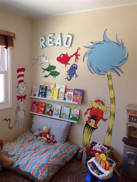themes for book corners dr seuss wall mural painting reading corner for kids cat