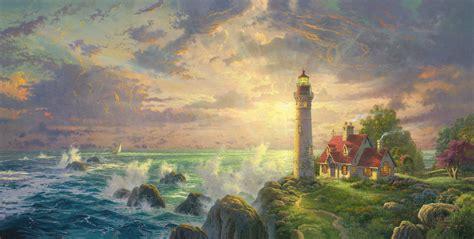 homeade lifesize thinas kinkade christmas tree lighthouses