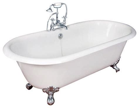 nickel bathtub cast iron double ended claw foot tub no faucet drilling