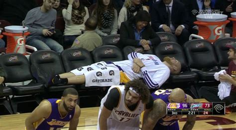 lakers bench chris kaman makes interesting use of lakers empty benches inside the lakers