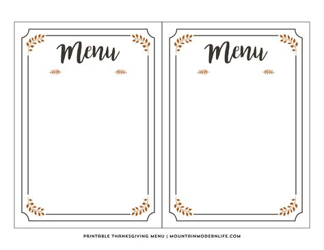 Blank Menu Card Templates by Free Printable Thanksgiving Menu Mountainmodernlife
