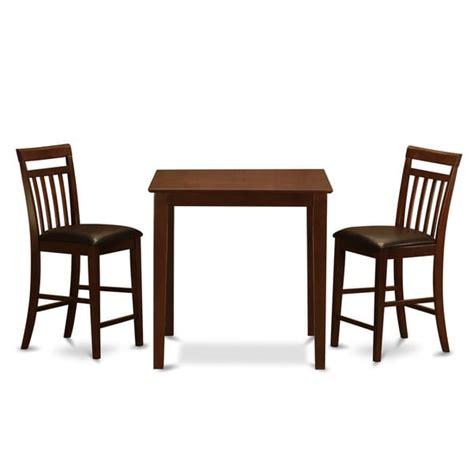 mahogany counter height table and 2 counter height chairs