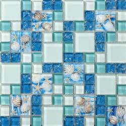 Blue Kitchen Design Beach Style Sea Blue Glass Tile Mother Of Pearl Resin