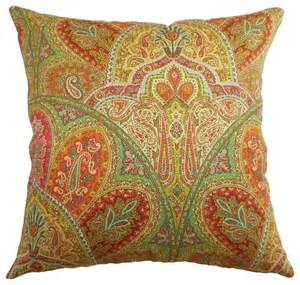 la ceiba paisley pillow citrus 18 quot x 18 quot traditional