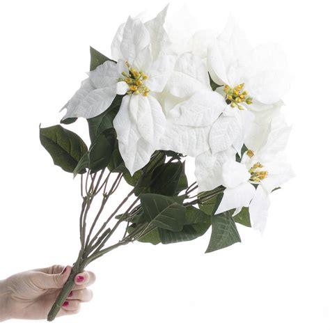 white poinsetta white artificial poinsettia bush florals