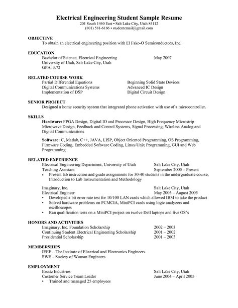 new graduate electrical engineering resume 28 images