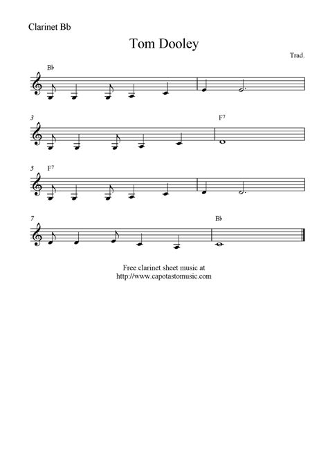 printable sheet music for clarinet tom dooley free clarinet sheet music notes