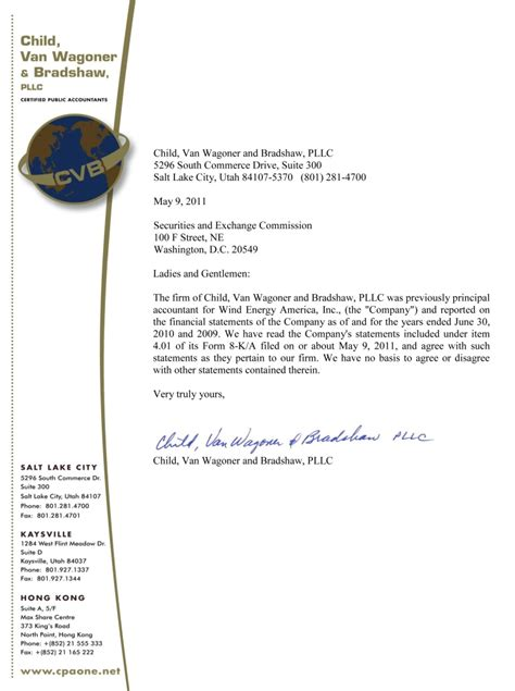 Confirmation Letter To Child Wind Energy America Inc Form 8 K A Ex 16 2 Child Wagnoner S Confirmation Letter May