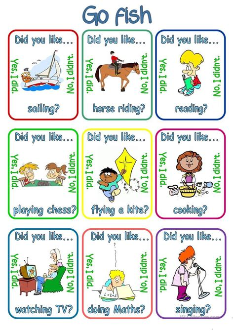 printable go fish card games go fish did you like verb ing worksheet free