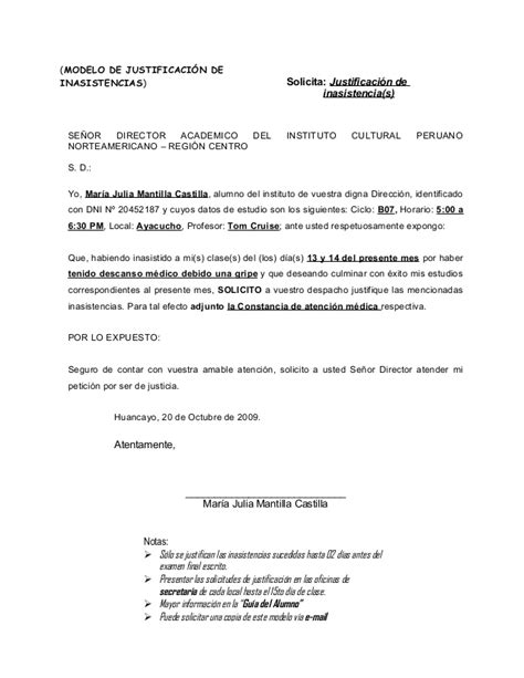modelo de carta para justificar inasistencia mensajes 49484443 solicitud de justificacion