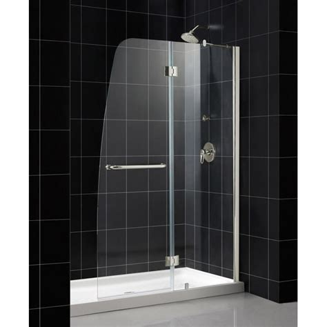 Aqua Glass Shower Doors Dreamline Aqua 48 Quot Frameless Hinged Shower Door 1 4 Quot Glass Brushed Nickel Finish