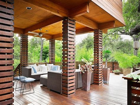 Half Brick Half Siding Home Design Ideas Pictures columns design deck asian with wood railing wood railing