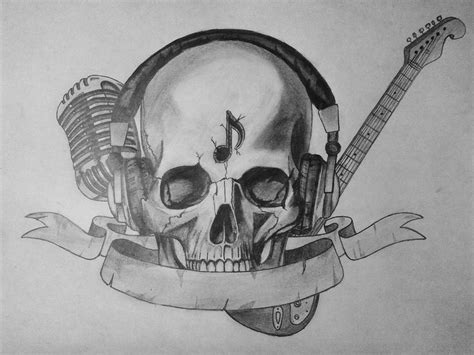 skull music note tattoo designs skull mic headphones guitar banner tattoos