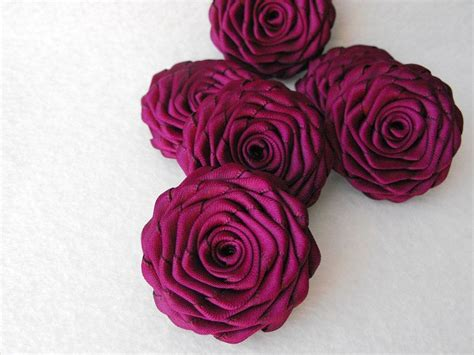 Handmade Ribbon Flowers - 6 handmade roses ribbon flowers in sangria by playtheribbon