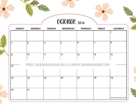 October Calendar Free Calendars For October 2016 Designs