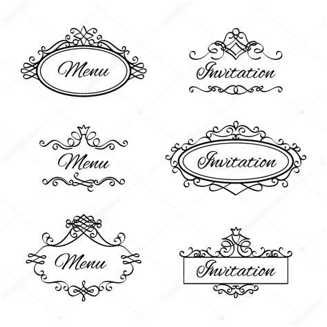 cornici per menu icone di vignette calligrafici vettoriali stock