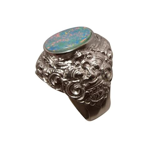 Big Rings by Mens Big Opal Ring Sterling Silver Barong Design