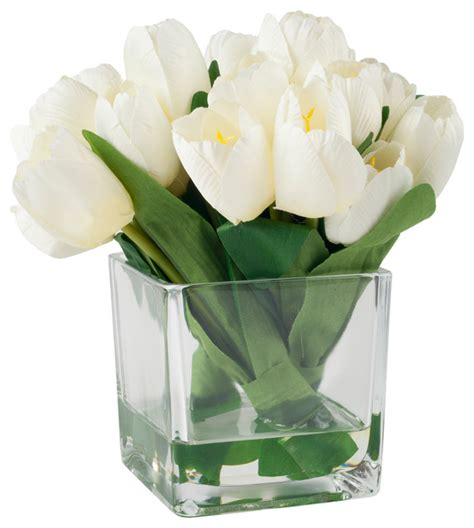 tulip floral arrangement with glass vase