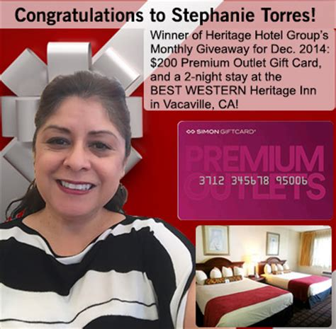 Premium Outlets Gift Card - dec 2014 winner of 200 premium outlet gift card and 2 night vacaville ca hotel stay