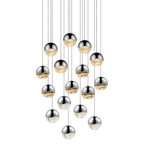 Led Pendant Light Fixture Sonneman 2923 01 Lrg Grapes Modern Polished Chrome Led Large Multi Pendant Lighting Fixture