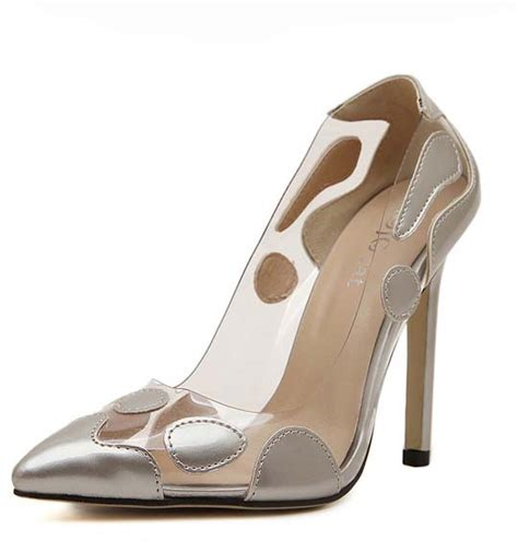 silver pointed toe high heels fashion silver irregular pattern pointed toe high heeled