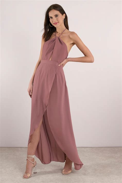 Id 0747 Twisted Split Dress mauve dress keyhole dress backless dress sleeveless