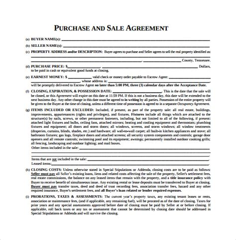 agreement of purchase and sale template purchase agreement 9 free documents in pdf word