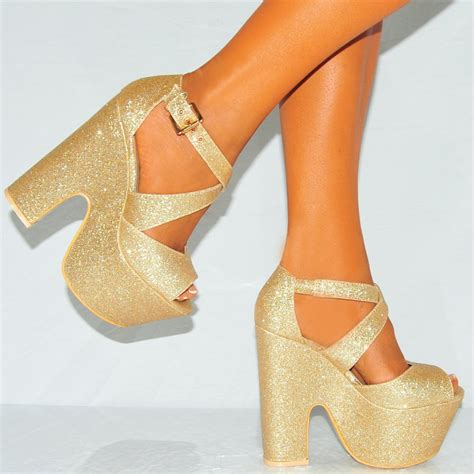 gold sparkly high heels gold glitter strappy chunky high heel peep toe