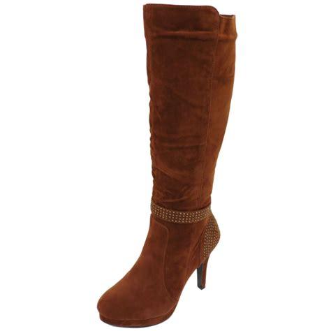 brown high heel knee high boots womens stiletto high heel knee high brown zip