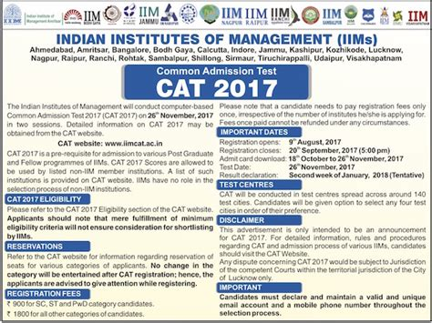 Cat Mba Entrance Details by Cat 2017 Notification For Mba Entrance