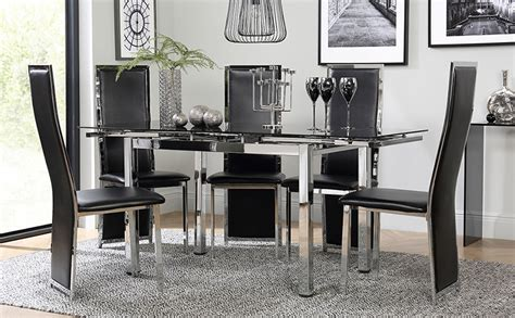 Space Chrome Black Glass Extending Dining Table With 4 Extending Glass Dining Table And Chairs