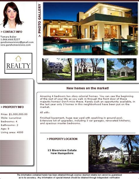 real estate flyer templates pdf format brochure templates