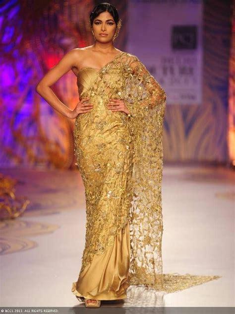 gold lace sari  gaurav gupta  delhi couture week