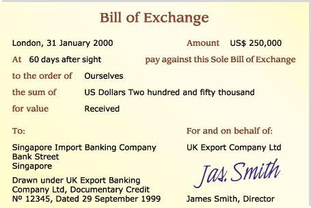 Letter Of Credit Negotiable Instrument a specimen of bill of exchange