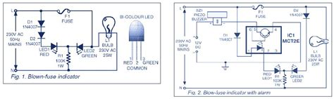 blown fuse indicator led circuit indicator circuit for mains 220v blown fuse schematic design
