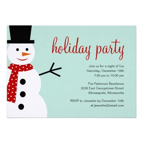 smiling snowman christmas holiday party invitation 5 quot x 7
