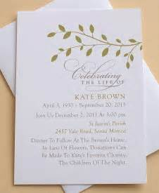 memorial invitation with green leaves by zdesigns0107 on etsy 63 95 celebration ideas