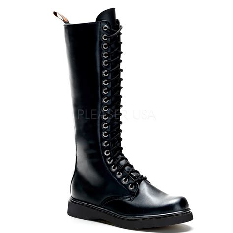 vegan combat boots demonia defiant 400 unisex side zipper lace up knee high