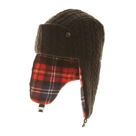 knit trapper hat a899 s cable knit trapper hat ssp hats