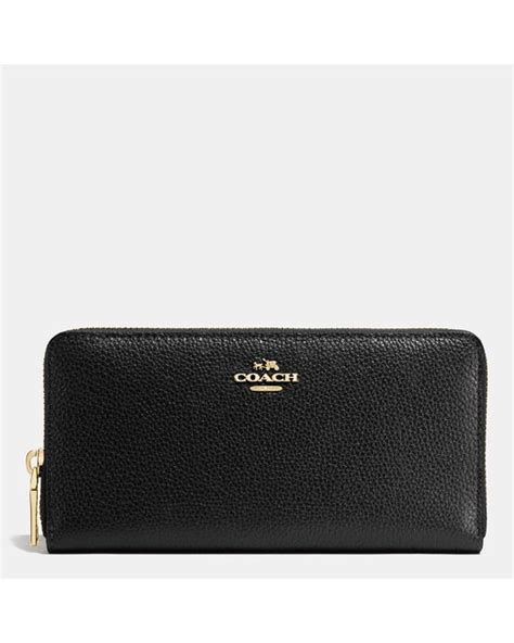 Dompet Coach Original Coach Accordion Zip Wallet Black Flower coach accordion zip wallet in pebble leather in black lyst